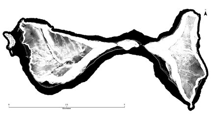 Map of Ofu and Olosega (American Samoa) showing terraced landscapes revealed by LIDAR remote sensing.
